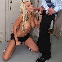 Cheerleader Brandy Blair sucking cock in the dressing room