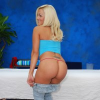 Brandy shows ass by the massage table