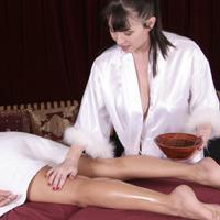 RayVeness starts massaging Brandy Blair's legs