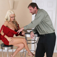 The boss checking out Brandy Blair's big boobs